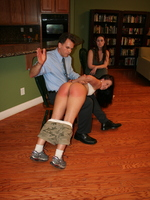 Cheyenne sashays in wearing the cutest and skimpiest gym clothes ever and is immediately subjected to a torrent of criticism from her coach's mentor. Not only that, but she too gets spanked, over Mr. Fuller's knee, first across th...